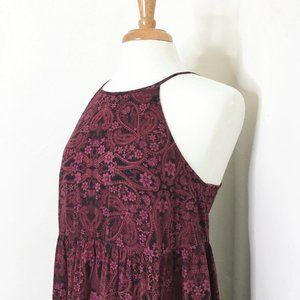 Mossimo Claret Floral Print Baby Doll Dress